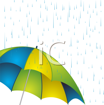 Royalty Free Clipart Image of an Umbrella in a Rainstorm