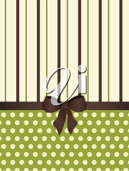 polka dot and striped background with bow in green, cream and brown