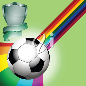 Football over a Rainbow on Green Background with Shield and Banner