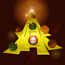 Abstract Yellow Christmas Tree with Baubles and Text Over Glowing Background