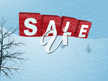 3D Illustration of Red Winter Sale Letters Over a Hill with Snow Footprint and Trees Background