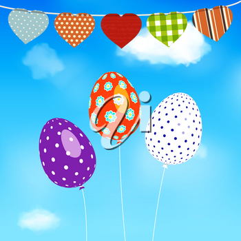Easter Eggs Balloons Flying Over Blue Sky Background with Heart Shaped Bunting