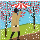 Royalty Free Clipart Image of a Person Walking in the Rain