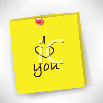 Royalty Free Clipart Image of an I Love You Note