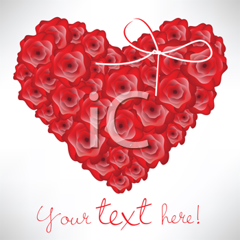 Royalty Free Clipart Image of a Rose Heart With Space for Text Below