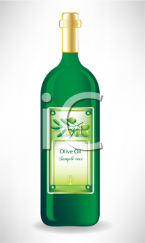 olive oil glass bottle with label with olive branch
