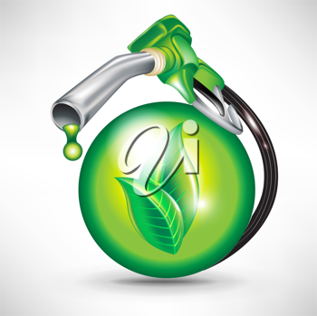 green energy fuel concept with sphere and gas pump nozzle