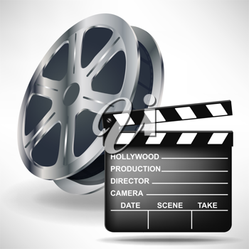movie clapper and film reel isolated on white