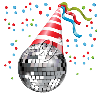disco ball with party hat and conffetti