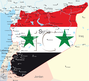Royalty Free Clipart Image of a Map of Syria Paiinted With the Flag