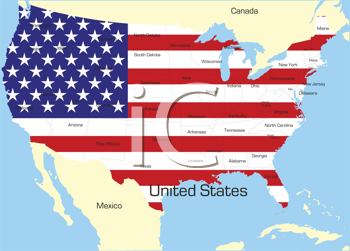 Royalty Free Clipart Image of a Map of the United States With the Flag Painted on It