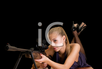 Royalty Free Photo of a Woman With a Gun