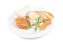 Royalty Free Photo of Tar-tar From Salmon With Green Onion