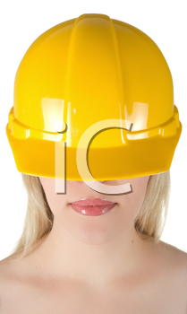 Royalty Free Photo of a Woman Wearing a Yellow Helmet