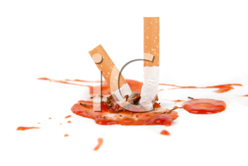 Royalty Free Photo of Cigarettes and Blood