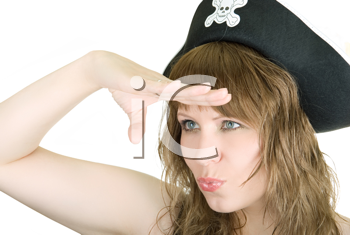 Royalty Free Photo of a Woman Wearing a Hat With a Skull