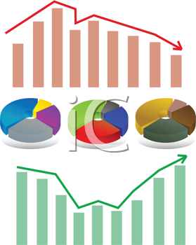 Abstract vector illustration of shiny bar and pie chart