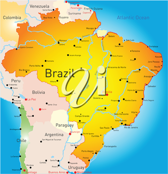 Royalty Free Clipart Image of a Map of Brazil