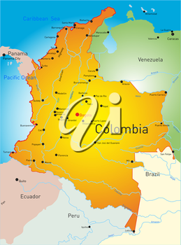 Royalty Free Clipart Image of a Map of Colombia