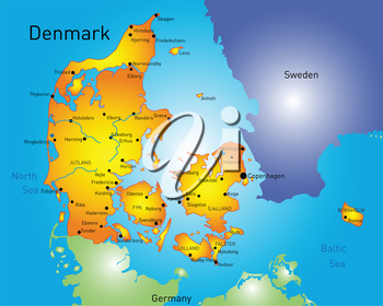 Vector color map of Denmark country