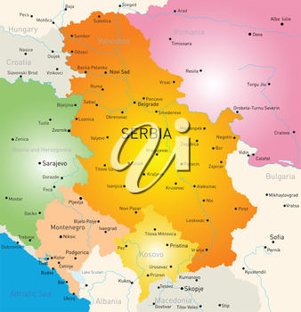 Vector color map of Serbia