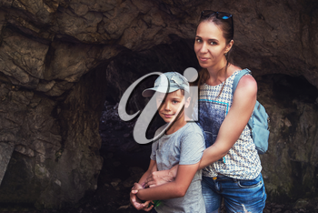 Woman and her son at the Altai caves