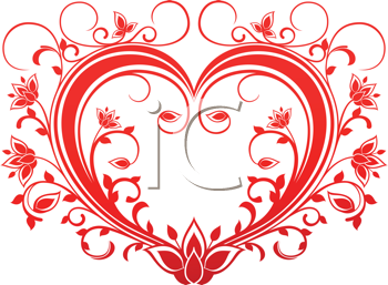 Royalty Free Clipart Image of a Fancy Red Heart
