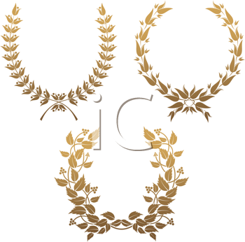 Royalty Free Clipart Image of a Set of Laurel Wreaths