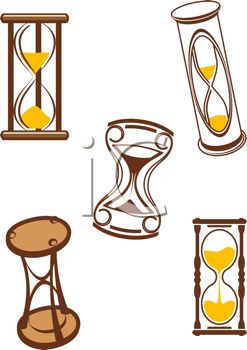 Royalty Free Clipart Image of a Set of Hourglasses