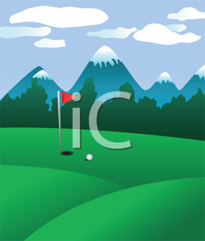 Royalty Free Clipart Image of a Golf Course