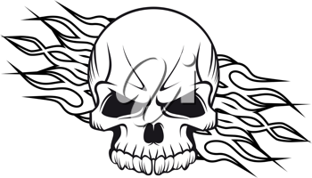 Human skull with flames for tattoo or mascot design