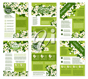 Springtime greetings design on vector posters or brochures templates set. Welcome Spring wishes and quotes for spring holidays with blooming white crocuses or lily flowers and daisy blossoms