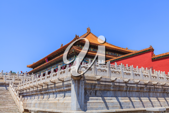 Beijing, China - April 29, 2015: Forbidden City, Beijing, China. The Hall of Supreme Harmony marble terrace and stairs with ornamental balustrades