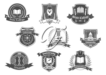 College, university and academy vector icons or badges set. Isolated symbols of science books, owl in graduation cap, paper sheet and writing pen with laurel ribbon and wreath on shields for high scho