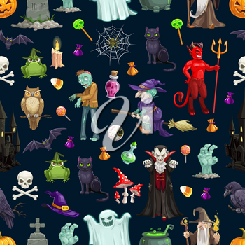 Halloween pattern background of monsers, pumpkins and witch ghosts. Vector Happy Halloween greeting card and trick or treat party seamless design of skeleton skull, devil and vampire with zombie