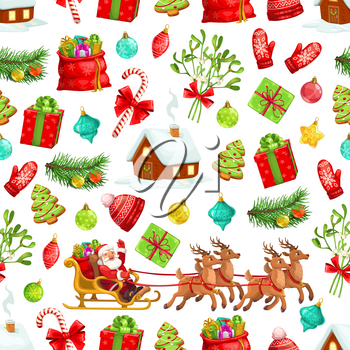 Christmas pattern background of winter holiday celebration symbols. Vector seamless design Xmas tree, Santa with New Year gifts on reindeer sleigh, mistletoe wreath and candy cane
