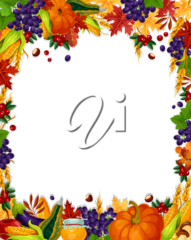 Autumn poster with blank space for greeting card or sale design. Vector frame of leaves foliage, berries or fruits and oak acorns, rowan berry, pumpkin or corn and mushroom autumn vegetable harvest