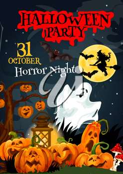 Halloween holiday poster for horror party invitation design. Spooky ghost, bat and witch on cemetery, october pumpkin lantern hanging on creepy tree with moon on background for greeting card design