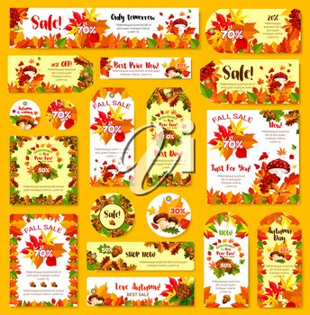 Autumn sale price off tag, shop web banner or leaflet and shopping store poster templates with 30, 50 and 70 percent discount. Vector set of autumn maple leaf, oak acorn or rowan berry and mushroom