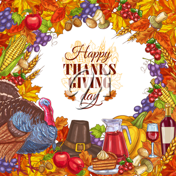 Hand drawn thanksgiving greeting card with vegetables, wine and handwritten modern calligraphy inscription. Happy thanksgiving day poster with food frame. Vector banner holiday concept