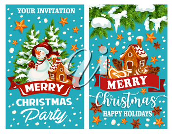Merry Christmas wish template design for greeting card of Christmas tree decoration, snowman with Santa gift presents and gingerbread cookie house in snow. Vector Nye Year decoration of golden stars