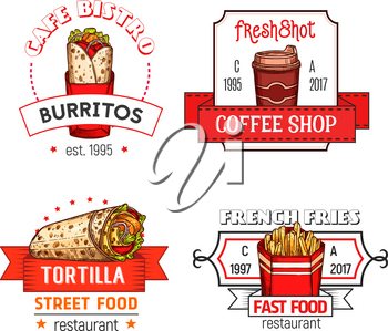 Fast food icons of burrito snack, tortilla wrap or french fries snack and soda or coffee drink for fastfood restaurant, bistro of cafe and cinema bar menu template. Vector isolated icons set