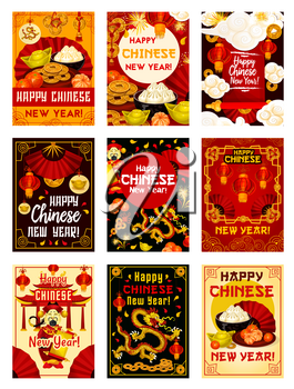Happy Chinese New Year greeting cards design of traditional Chinese dragons, fireworks in clouds, gold sycee ingot and lucky knot coin ornament. Vector China emperor with wish scroll and red lanterns