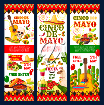 Cinco de Mayo mexican fiesta party invitation banner for Puebla Battle anniversary. Sombrero, pepper and maracas, skull, tequila and guitar, festive food, cactus and pinata flyer with mexican ornament