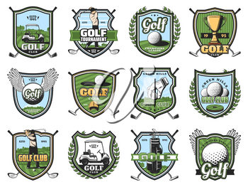 Golf sport club shield badges of vector golfer players on course with balls, clubs and tee, winner trophy cups, golf cart and holes, uniform cap and glove. Sporting tournament and competition design