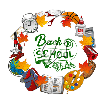 Back to school grunge inscription, frame of studying supplies. Vector autumn leaves, clock, scissors and glue. Pencil sharpener and geometry book, backpack and globe, microscope with watercolor paints