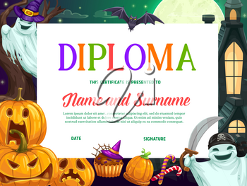 Halloween kids education diploma or certificate vector template with background frame of horror pumpkins and ghosts. Achievement certificate, school graduation diploma or appreciation award design