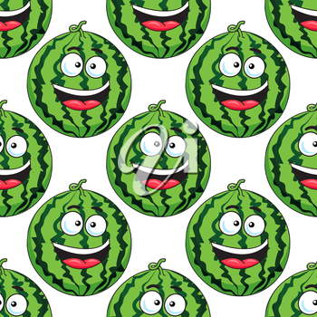 Seamless background pattern of a cute cartoon green laughing watermelon in square format suitable for fabric or wallpaper design