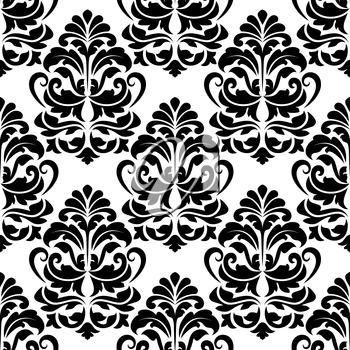 Heavy seamless black and white arabesque seamless pattern with large closely spaced floral motifs