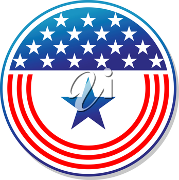 Patriotic American stars and stripes button in blue and white depicting the colours and design of the national flag, vector illustration